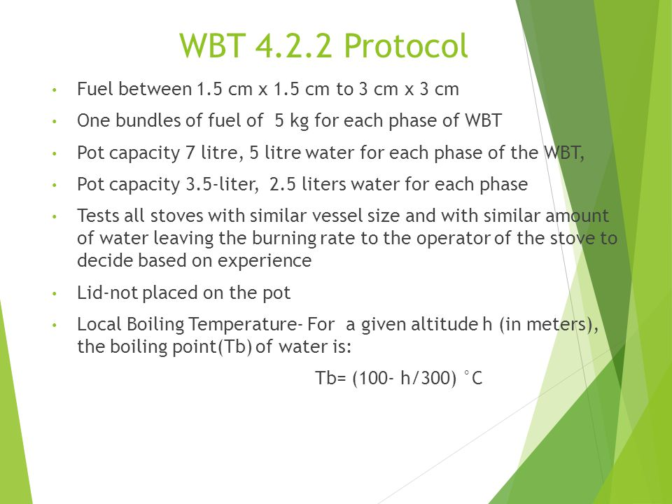 WBT 4.2.2 Protocol Fuel between 1.5 cm x 1.5 cm to 3 cm x 3 cm