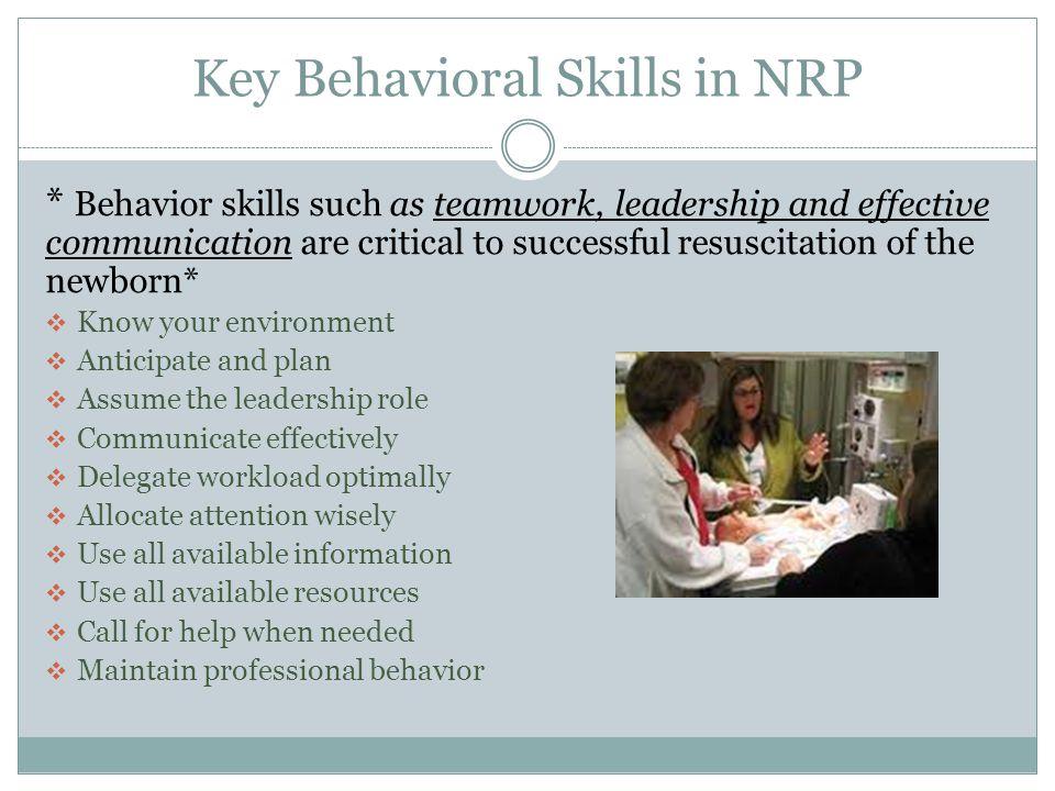 Key Behavioral Skills in NRP