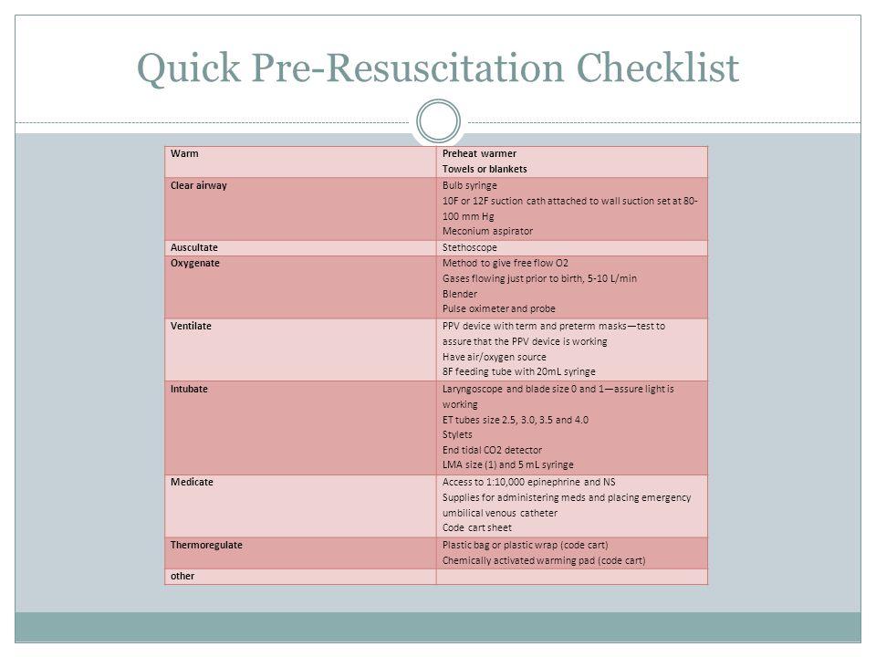 Quick Pre-Resuscitation Checklist