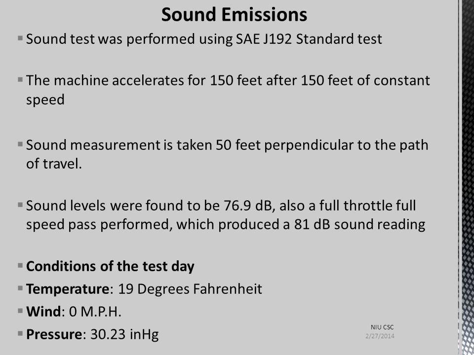 Sound Emissions Sound test was performed using SAE J192 Standard test