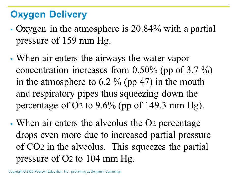 Oxygen Delivery Oxygen in the atmosphere is 20.84% with a partial pressure of 159 mm Hg.