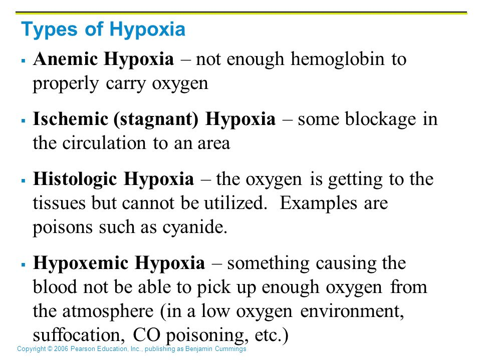 Types of Hypoxia Anemic Hypoxia – not enough hemoglobin to properly carry oxygen.