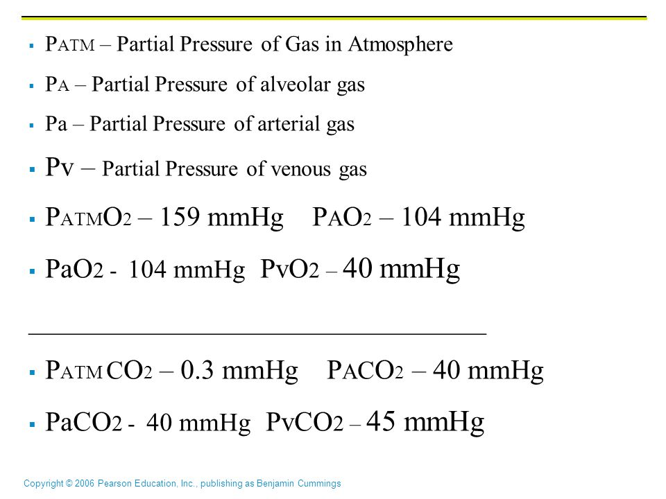 Pv – Partial Pressure of venous gas PATMO2 – 159 mmHg PAO2 – 104 mmHg