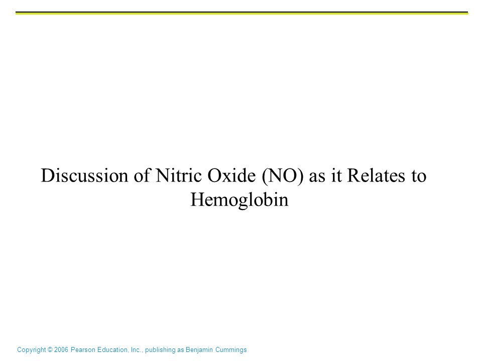 Discussion of Nitric Oxide (NO) as it Relates to Hemoglobin