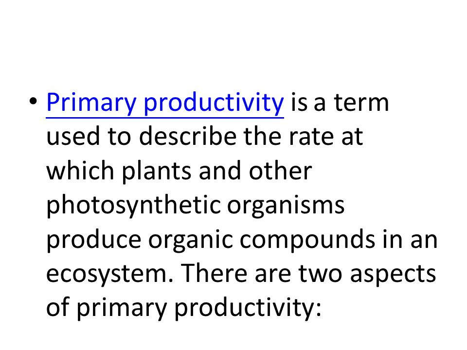 Primary productivity is a term used to describe the rate at which plants and other photosynthetic organisms produce organic compounds in an ecosystem.