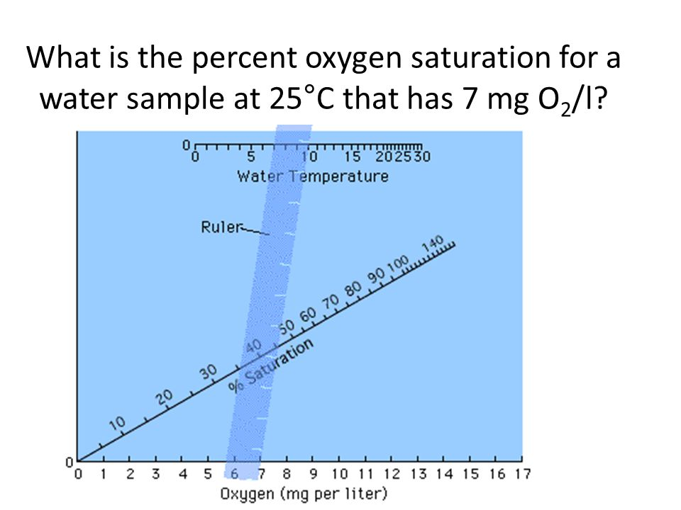 What is the percent oxygen saturation for a water sample at 25°C that has 7 mg O2/l