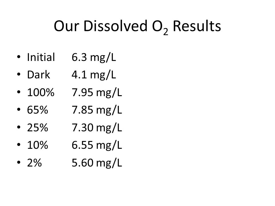 Our Dissolved O2 Results