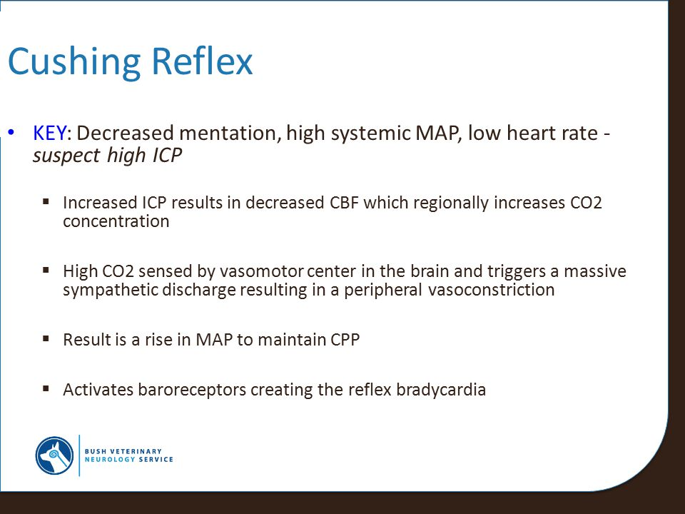 Cushing Reflex KEY: Decreased mentation, high systemic MAP, low heart rate - suspect high ICP.