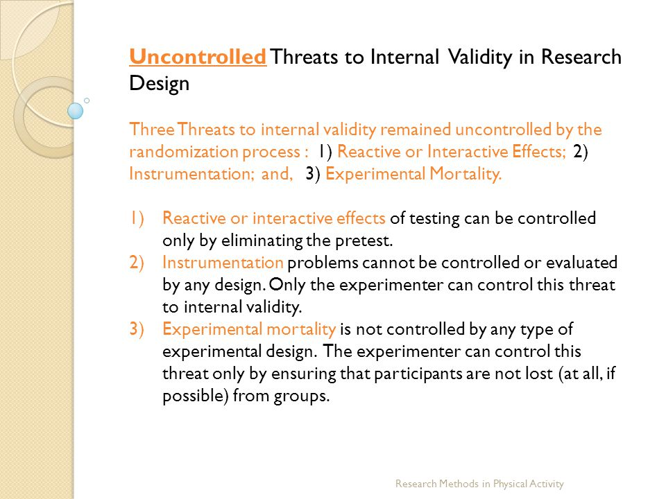 Uncontrolled Threats to Internal Validity in Research Design