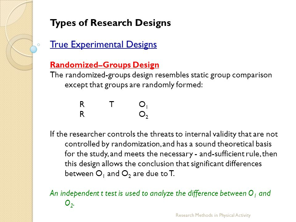 Types of Research Designs True Experimental Designs