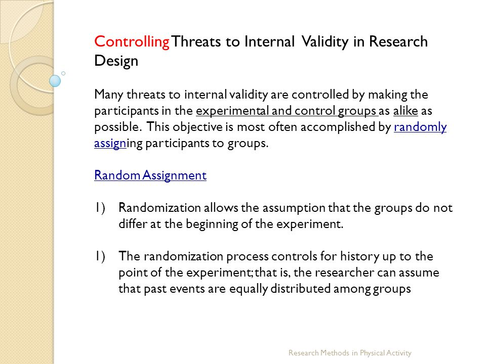 Controlling Threats to Internal Validity in Research Design