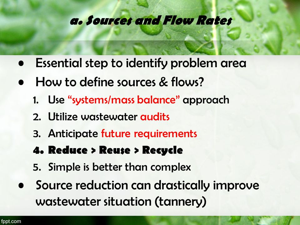 a. Sources and Flow Rates
