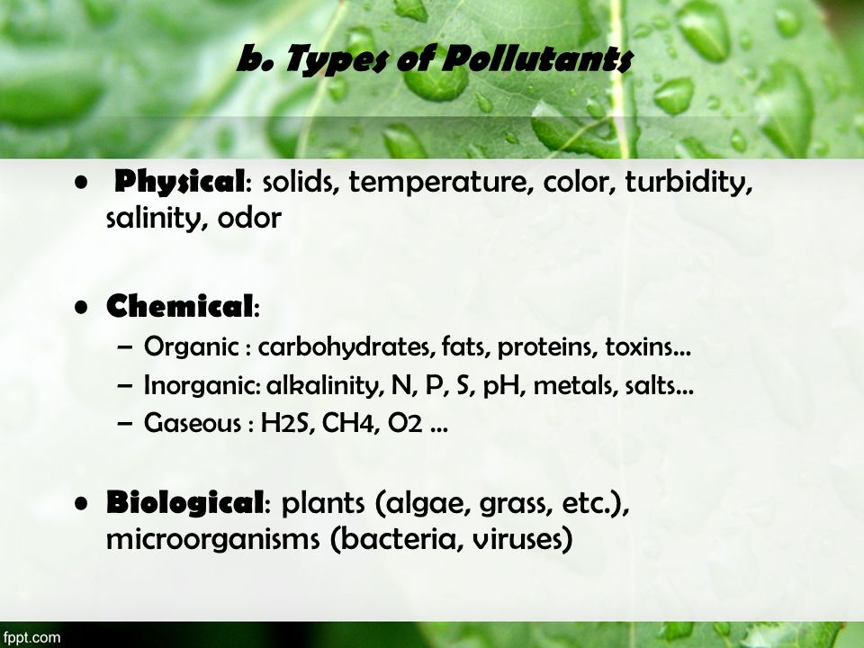 b. Types of Pollutants Physical: solids, temperature, color, turbidity, salinity, odor. Chemical: Organic : carbohydrates, fats, proteins, toxins…