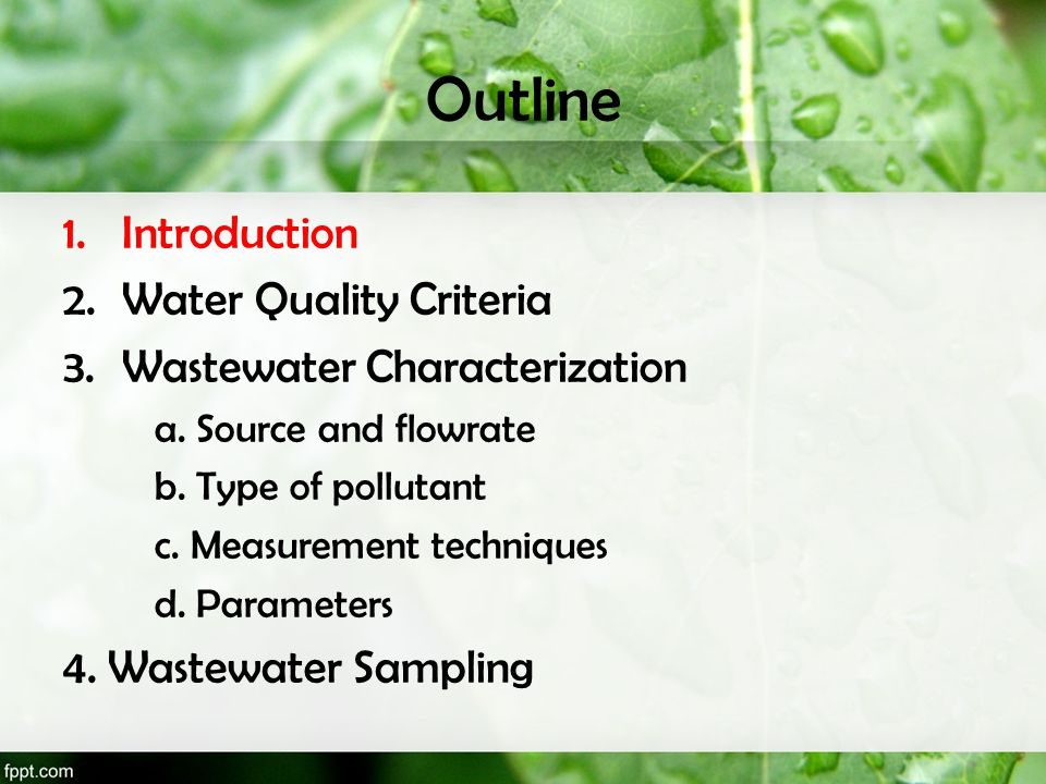 Outline Introduction Water Quality Criteria