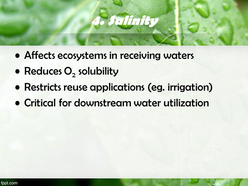 4. Salinity Affects ecosystems in receiving waters