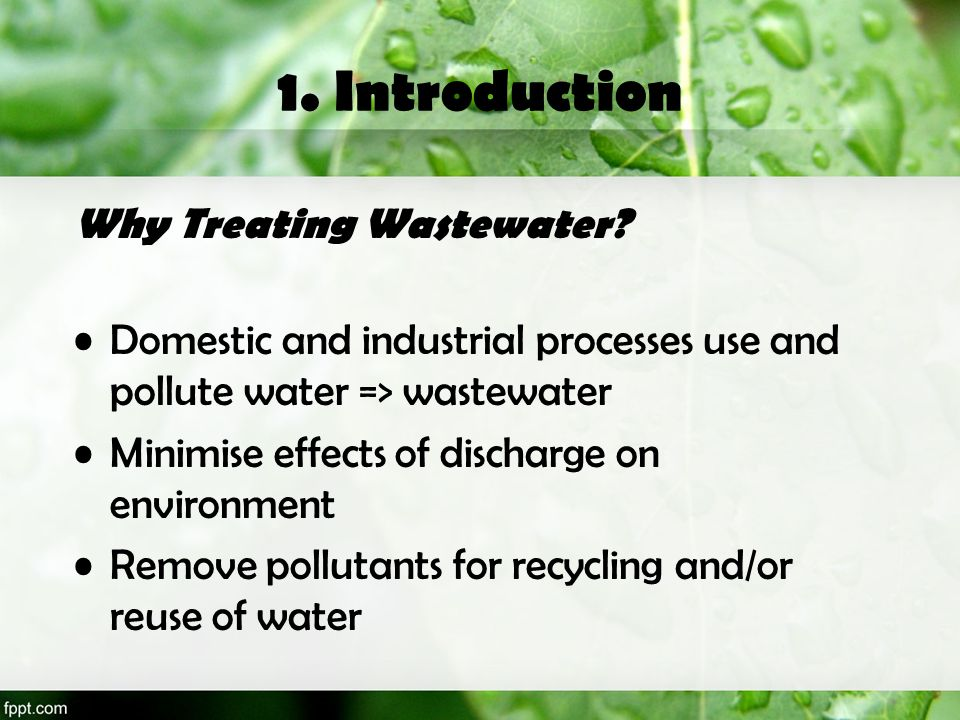 1. Introduction Why Treating Wastewater