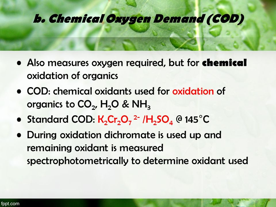 b. Chemical Oxygen Demand (COD)