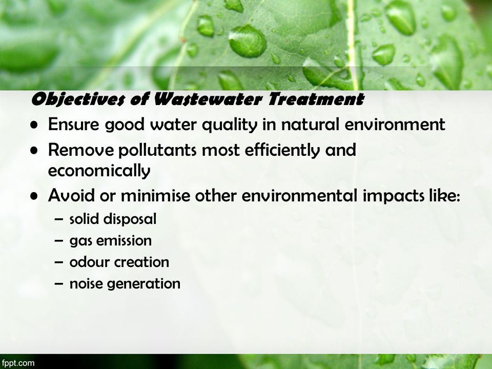 Objectives of Wastewater Treatment