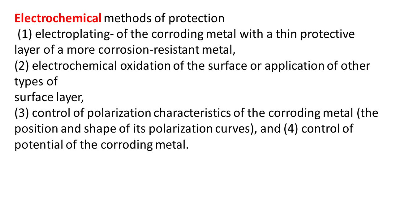 Electrochemical methods of protection