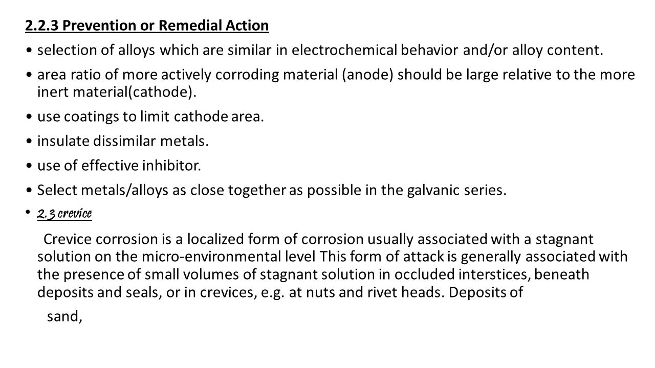 2.2.3 Prevention or Remedial Action