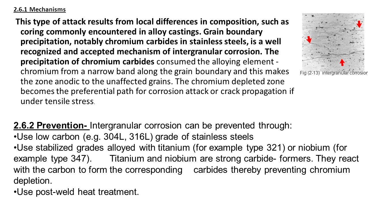 2.6.2 Prevention- Intergranular corrosion can be prevented through: