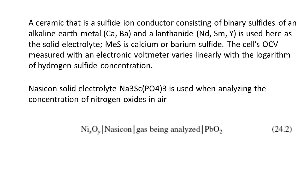A ceramic that is a sulfide ion conductor consisting of binary sulfides of an
