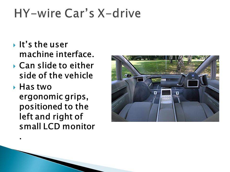 HY-wire Car's X-drive It's the user machine interface.