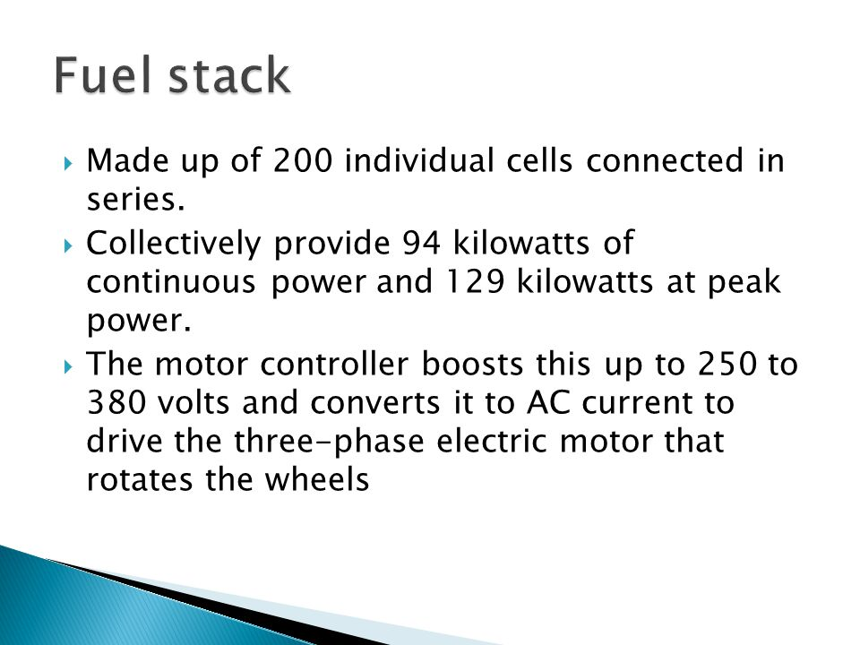 Fuel stack Made up of 200 individual cells connected in series.