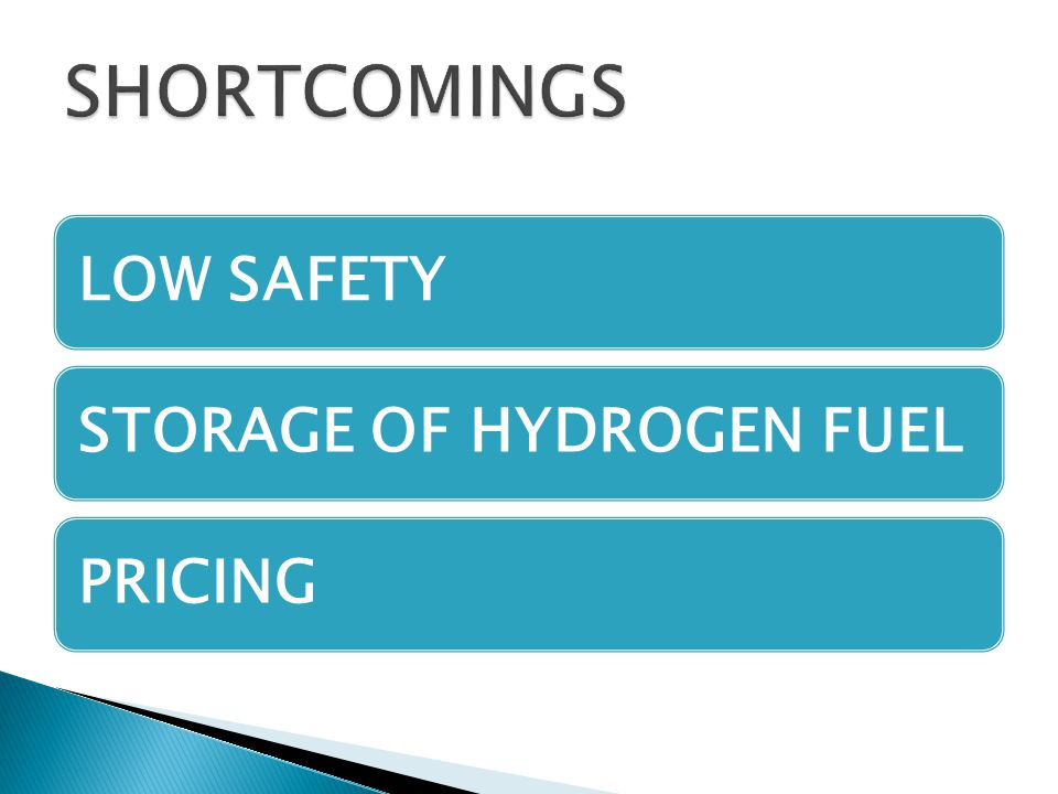 SHORTCOMINGS LOW SAFETY STORAGE OF HYDROGEN FUEL PRICING