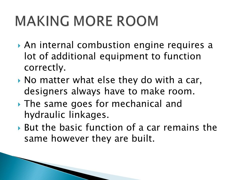 MAKING MORE ROOM An internal combustion engine requires a lot of additional equipment to function correctly.
