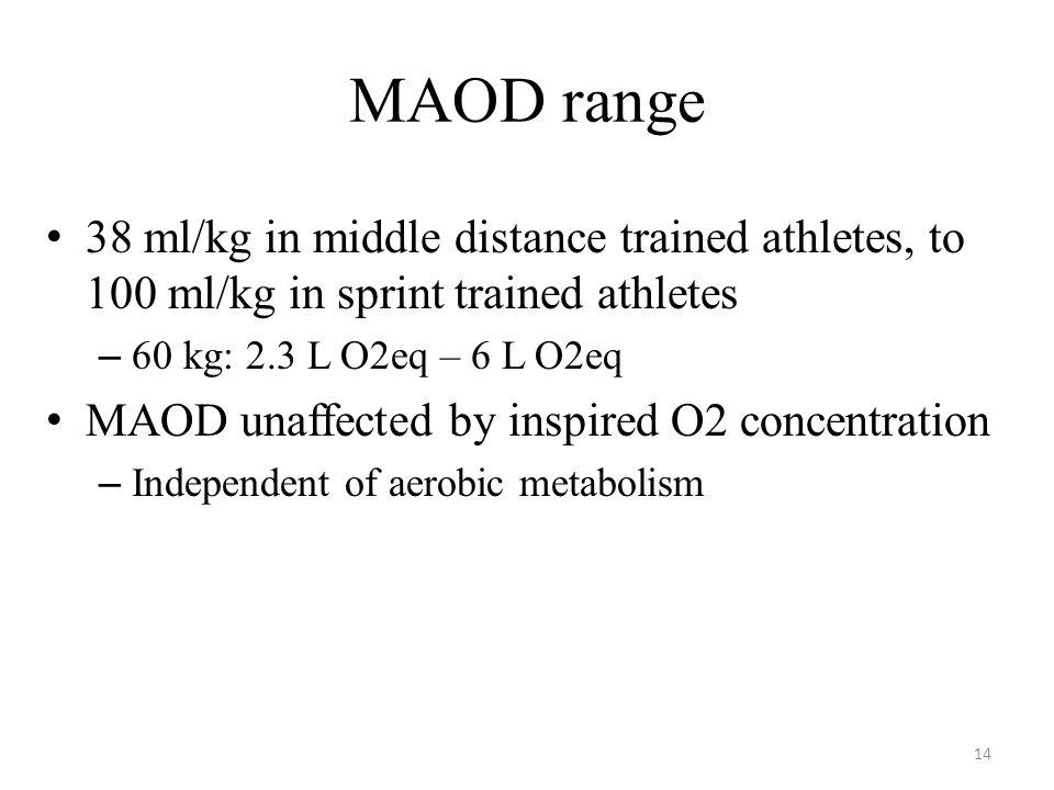MAOD range 38 ml/kg in middle distance trained athletes, to 100 ml/kg in sprint trained athletes. 60 kg: 2.3 L O2eq – 6 L O2eq.
