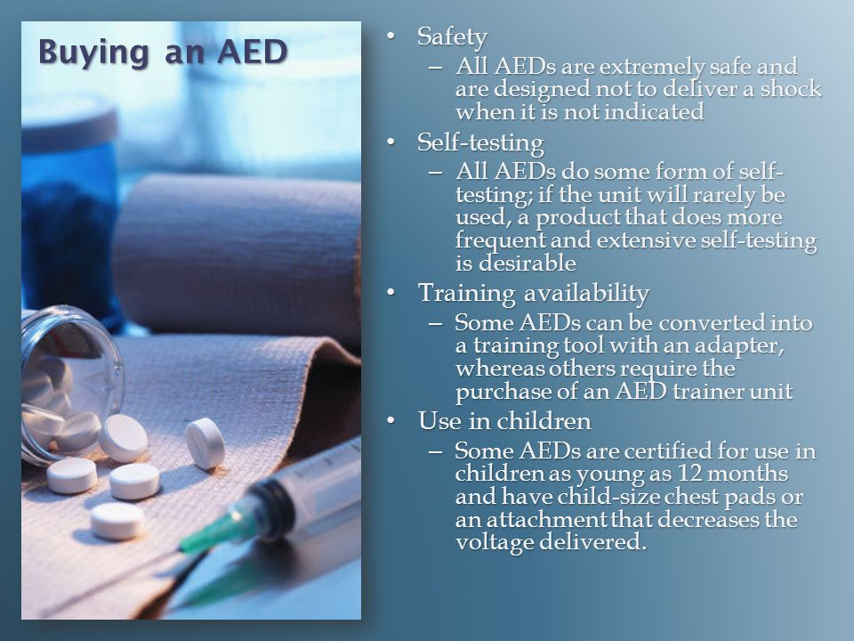 Buying an AED Safety Self-testing Training availability
