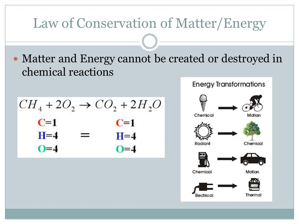 Law of Conservation of Matter/Energy