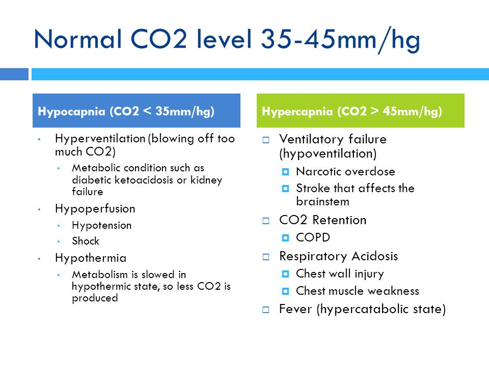 Normal CO2 level 35-45mm/hg Ventilatory failure (hypoventilation)