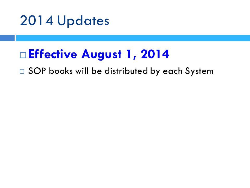 2014 Updates Effective August 1, 2014