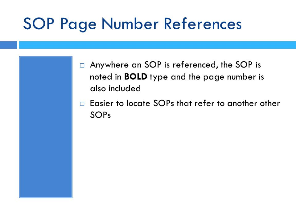 SOP Page Number References