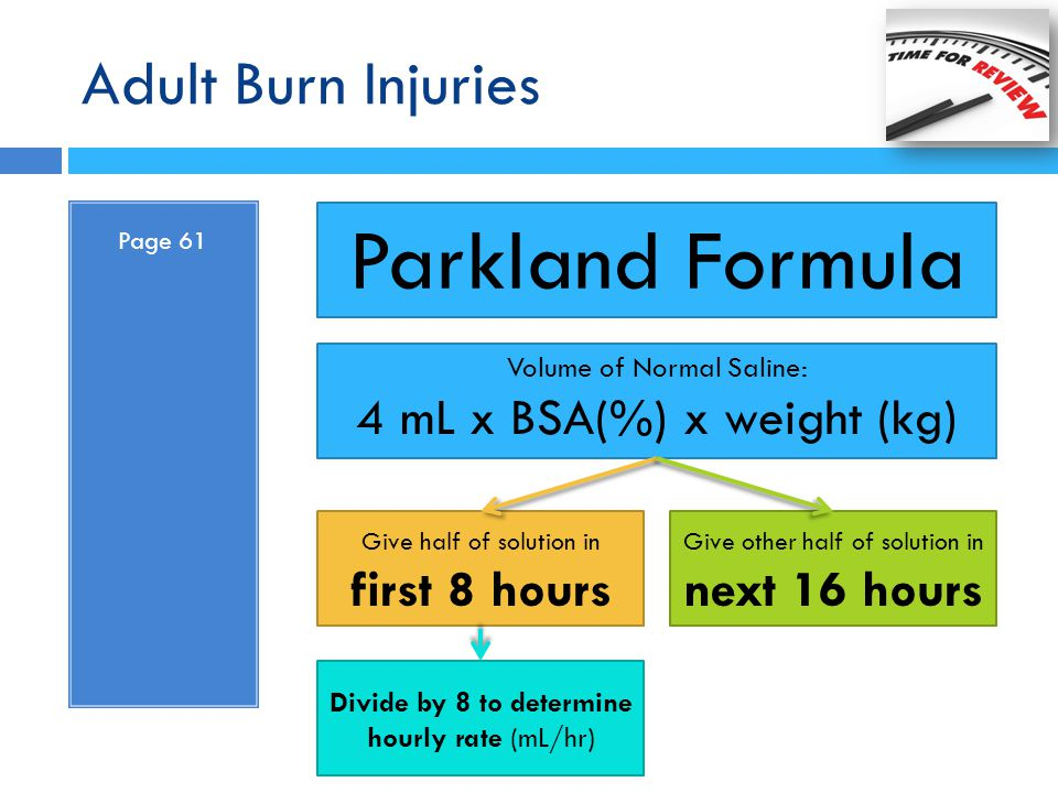 Parkland Formula Adult Burn Injuries 4 mL x BSA(%) x weight (kg)