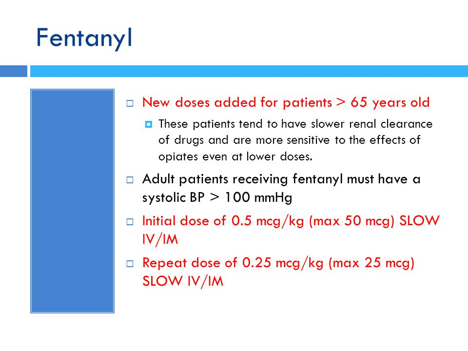 Fentanyl New doses added for patients > 65 years old