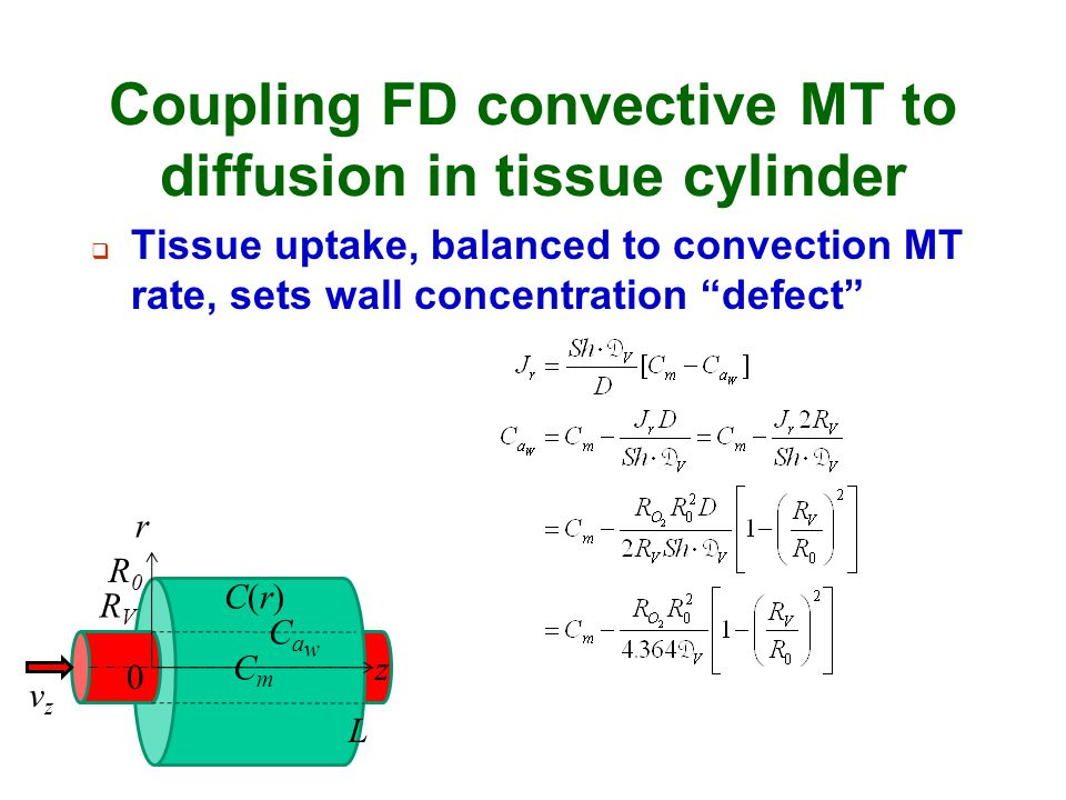 Coupling FD convective MT to diffusion in tissue cylinder
