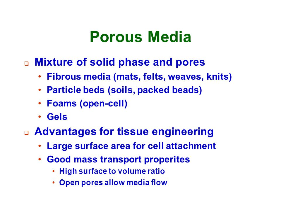 Porous Media Mixture of solid phase and pores