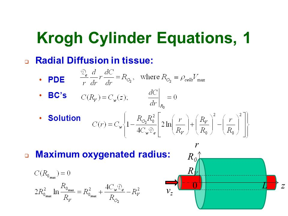 Krogh Cylinder Equations, 1