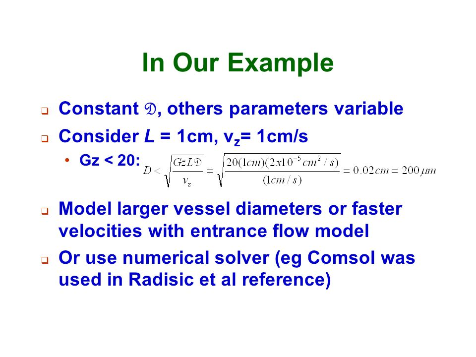 In Our Example Constant D, others parameters variable