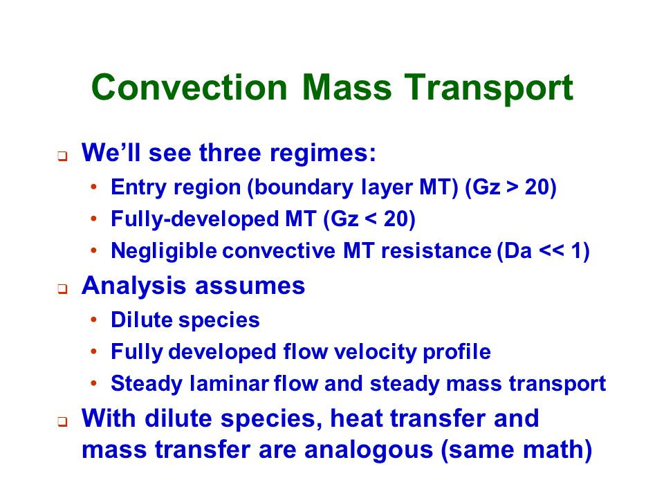 Convection Mass Transport