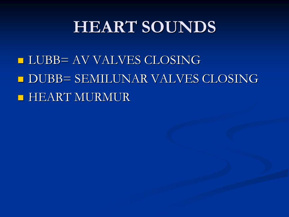 HEART SOUNDS LUBB= AV VALVES CLOSING DUBB= SEMILUNAR VALVES CLOSING