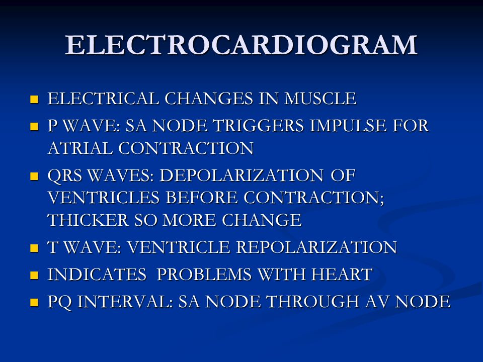 ELECTROCARDIOGRAM ELECTRICAL CHANGES IN MUSCLE