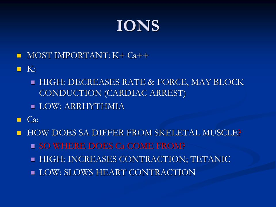 IONS MOST IMPORTANT: K+ Ca++ K: