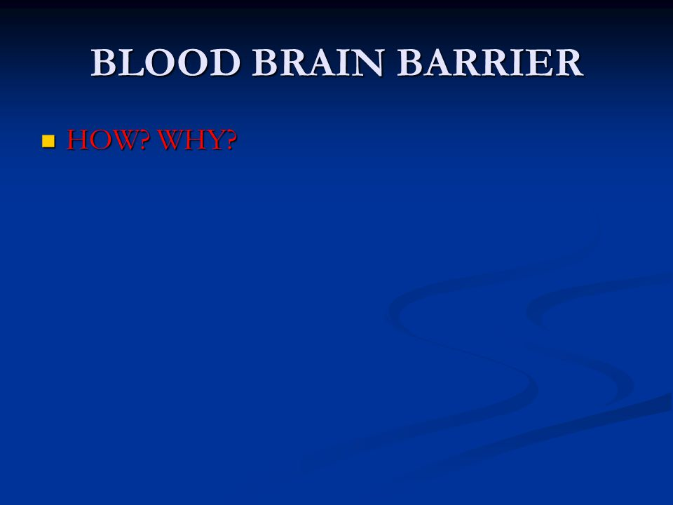 BLOOD BRAIN BARRIER HOW WHY