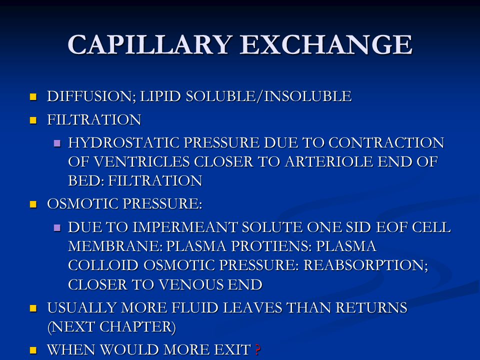 CAPILLARY EXCHANGE DIFFUSION; LIPID SOLUBLE/INSOLUBLE FILTRATION