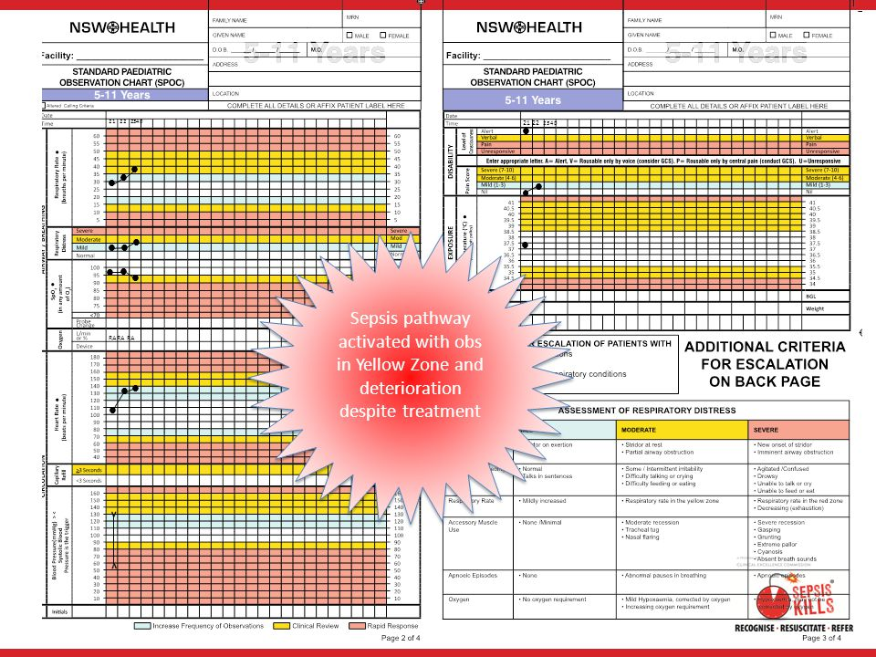 21 22 2340  21 22 2340.        Sepsis pathway activated with obs in Yellow Zone and deterioration despite treatment.