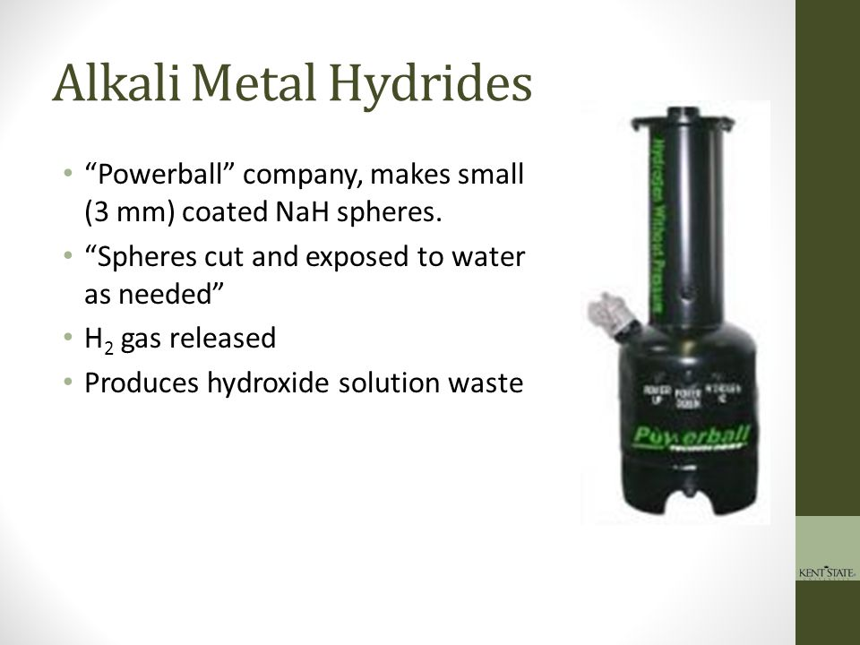 Alkali Metal Hydrides Powerball company, makes small (3 mm) coated NaH spheres. Spheres cut and exposed to water as needed
